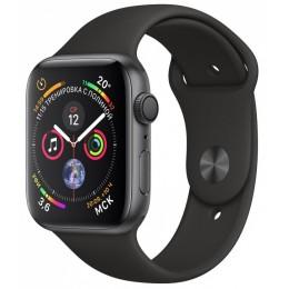 Умные часы Apple Watch Series 4, 44 мм, корпус из алюминия цвета «серый космос», спортивный ремешок черного цвета