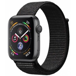Умные часы Apple Watch Series 4, 44 мм, корпус из алюминия цвета «серый космос», спортивный браслет черного цвета (серый)
