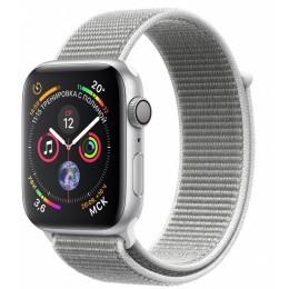 Умные часы Apple Watch Series 4, 44 мм, корпус из серебристого алюминия, спортивный браслет цвета «белая ракушка» (серебристый)