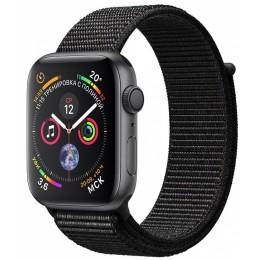 Умные часы Apple Watch Series 4, 40 мм, корпус из алюминия цвета «серый космос», спортивный браслет черного цвета (серый)