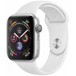 Умные часы Apple Watch Series 4, 44 мм, корпус из серебристого алюминия, спортивный ремешок белого цвета