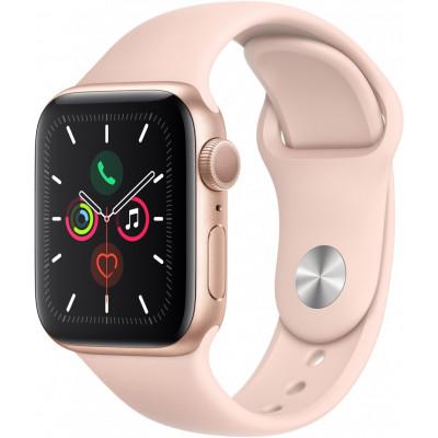 Умные часы Apple Watch Series 5, 40 мм, корпус из алюминия золотого цвета, спортивный браслет цвета «розовый песок»