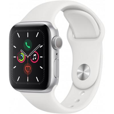 Умные часы Apple Watch Series 5, 44 мм, корпус из алюминия серебристого цвета, спортивный браслет белого цвета