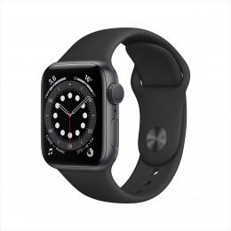 Apple Watch Series 6, 40 мм, корпус из алюминия цвета серый космос, спортивный браслет черного цвета
