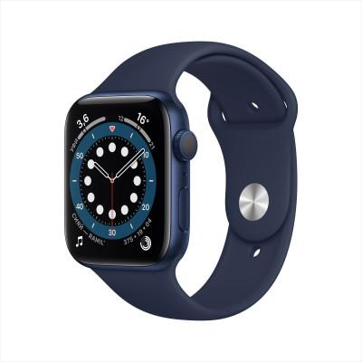 Apple Watch Series 6, 40 мм, корпус из алюминия синего цвета, спортивный браслет цвета «тёмный ультрамарин»