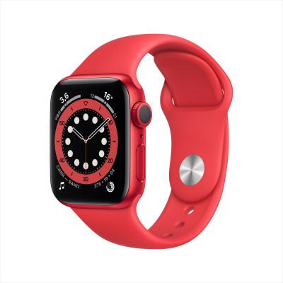 Apple Watch Series 6, 40 мм, корпус из алюминия (PRODUCT) RED, спортивный браслет цвета «красного цвета»