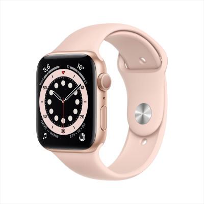 Apple Watch Series 6, 40 мм, корпус из алюминия золотого цвета, спортивный браслет «розовый песок»