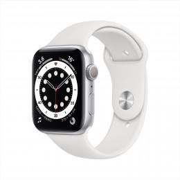 Apple Watch Series 6, 40 мм, корпус из алюминия серебристого цвета, спортивный браслет  белого цвета