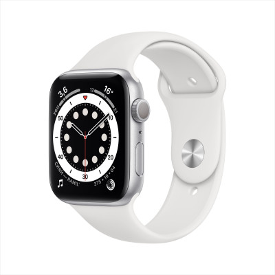 Apple Watch Series 6, 44 мм, корпус из алюминия серебристого цвета, спортивный браслет  белого цвета