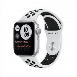 Apple Watch Nike Series 6, 40 мм, корпус из алюминия серебристого цвета, спортивный ремешок Nike цвета «чистая платина/чёрный»
