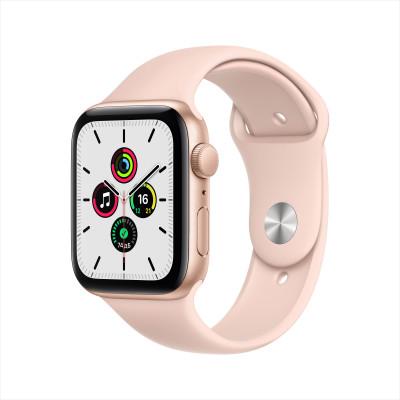 Apple Watch SE, 44 мм, корпус из алюминия золотого цвета, спортивный ремешок цвета розовый песок