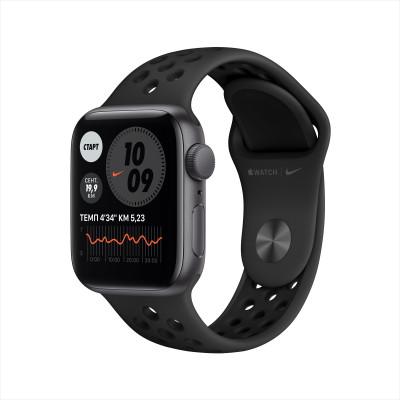 Apple Watch Nike SE, 40 мм, корпус из алюминия цвета «серый космос», спортивный ремешок Nike цвета «антрацитовый/чёрный»