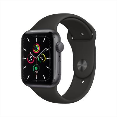 Apple Watch SE, 44 мм, корпус из алюминия цвета «серый космос», спортивный ремешок чёрного цвета